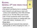 reading general 2 nd nine weeks focus