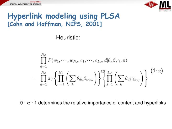 Hyperlink modeling using PLSA