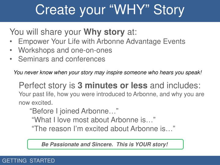 """Create your """"WHY"""" Story"""