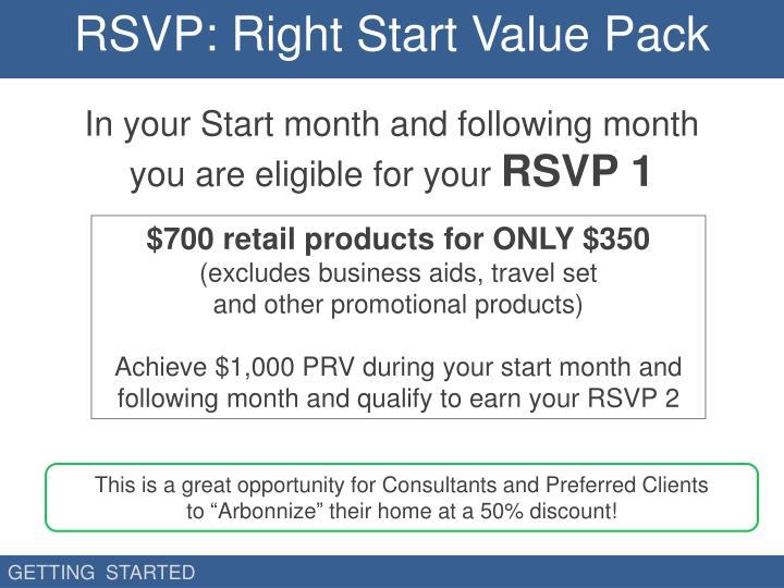 RSVP: Right Start Value Pack