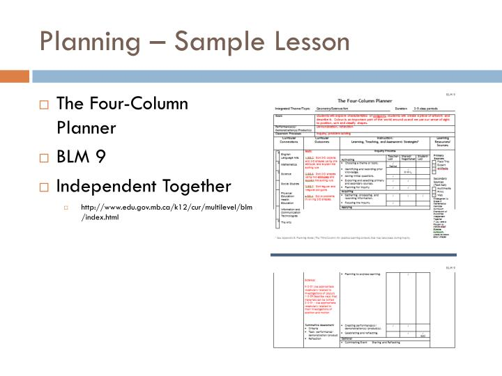 Planning – Sample Lesson