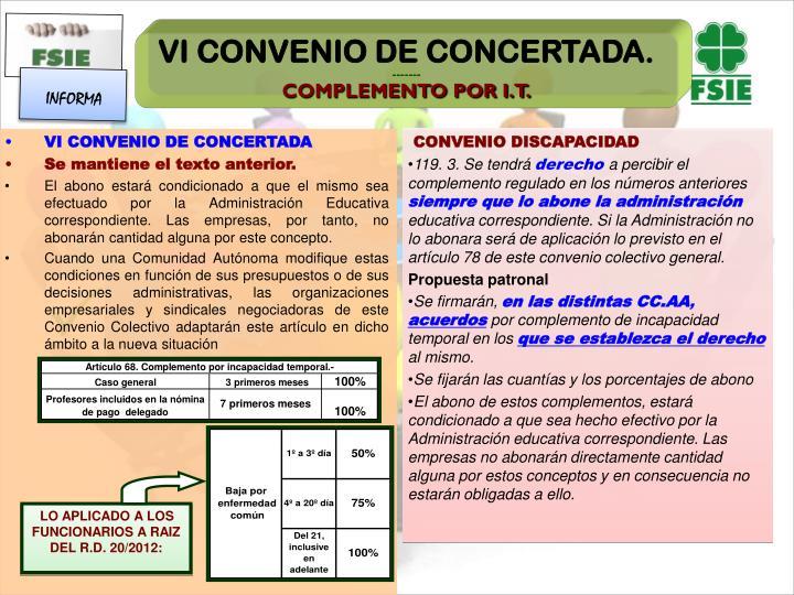 VI CONVENIO DE CONCERTADA.