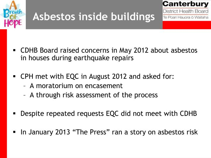 Asbestos inside buildings