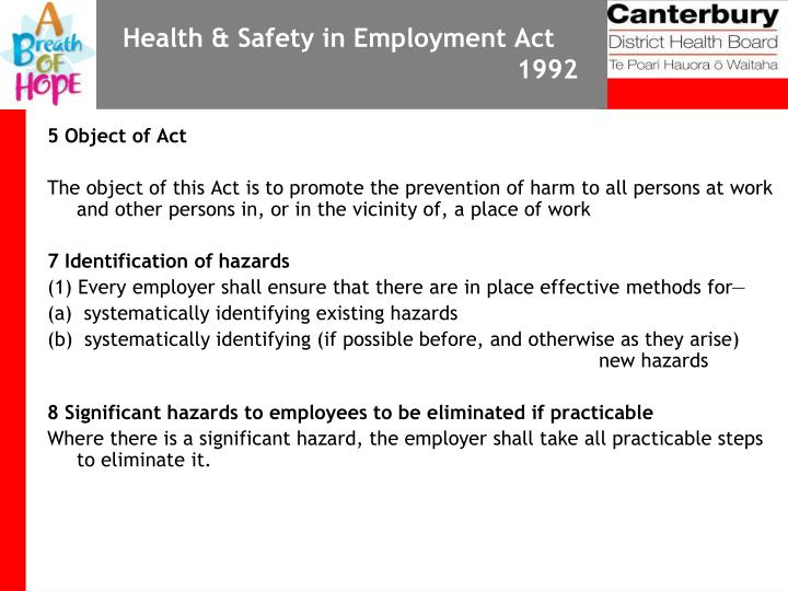 Health & Safety in Employment Act