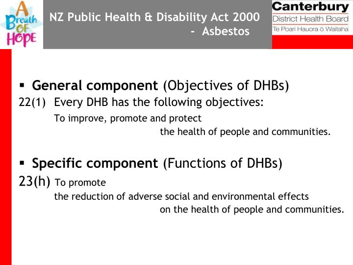 NZ Public Health & Disability Act 2000