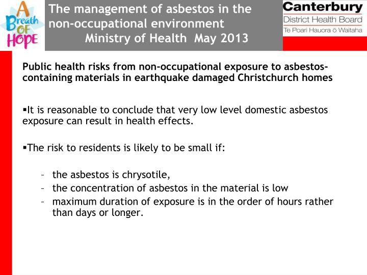 The management of asbestos in the non-occupational environment