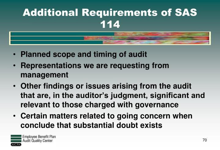 Additional Requirements of SAS 114