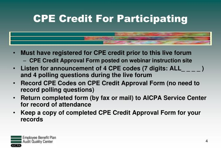 CPE Credit For Participating
