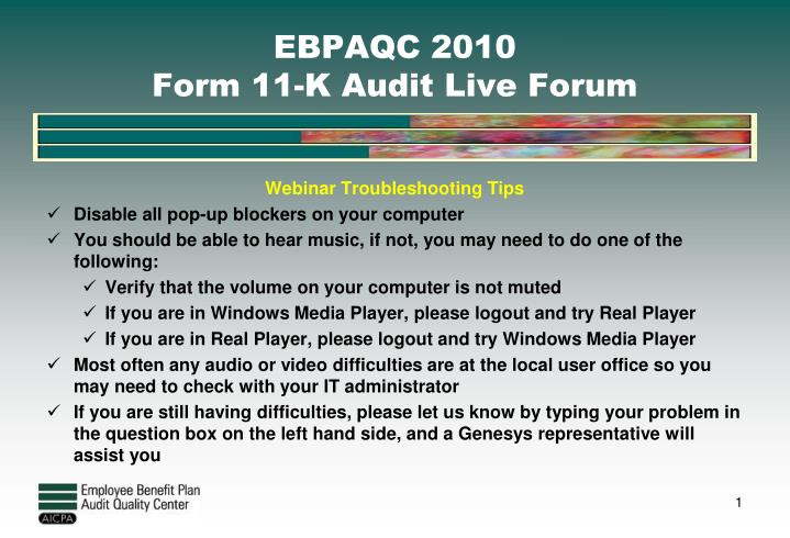 Ebpaqc 2010 form 11 k audit live forum