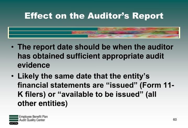 Effect on the Auditor's Report