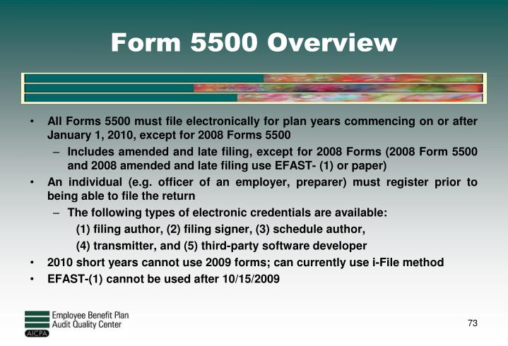 Form 5500 Overview