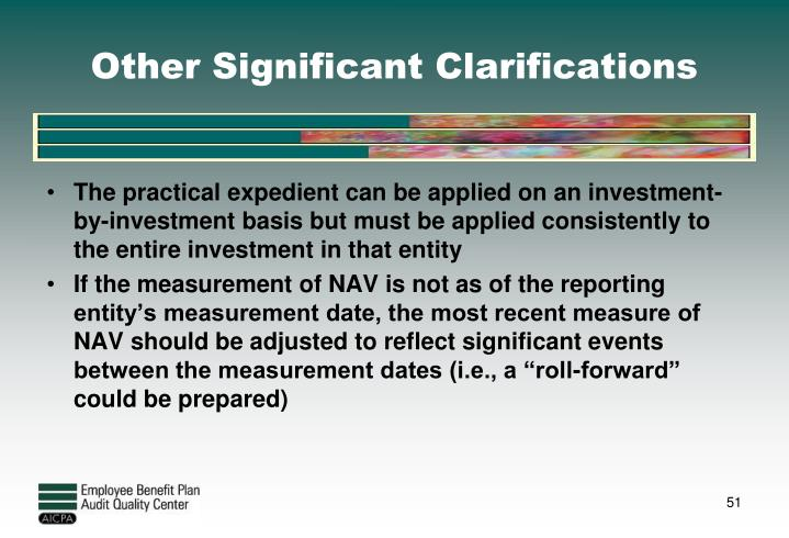 Other Significant Clarifications