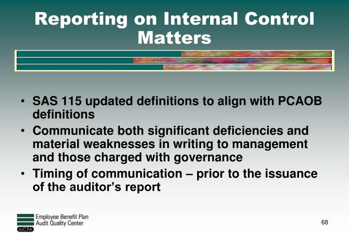 Reporting on Internal Control Matters