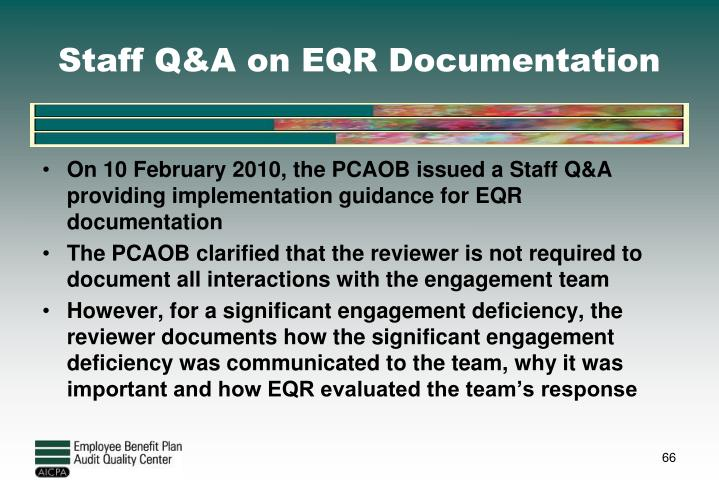 Staff Q&A on EQR Documentation