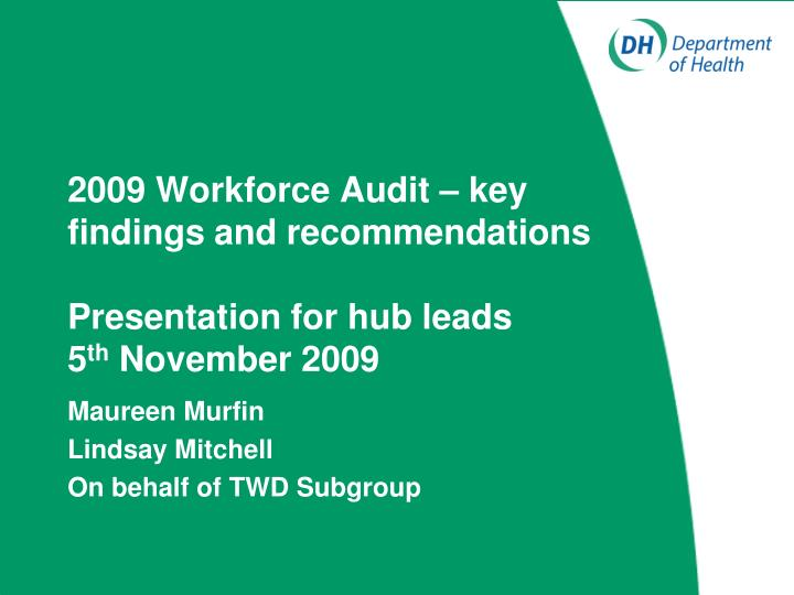 2009 workforce audit key findings and recommendations presentation for hub leads 5 th november 2009