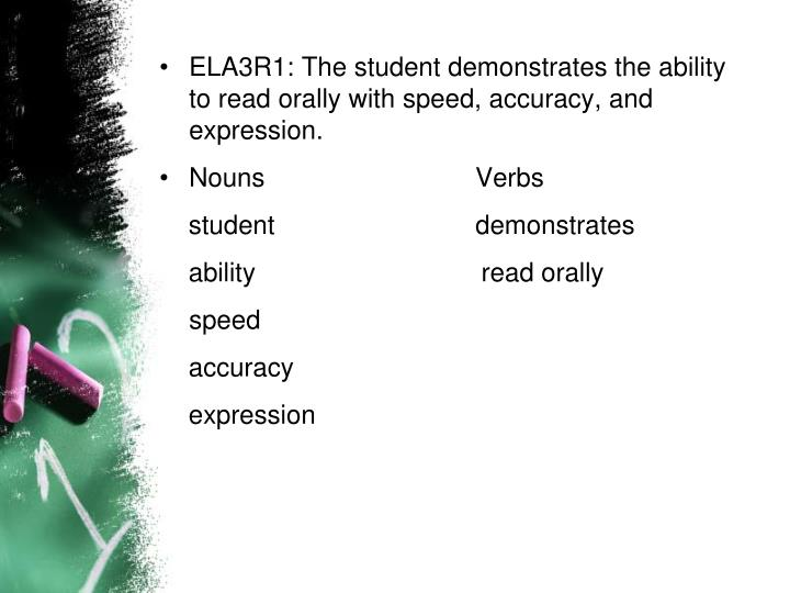 ELA3R1: The student demonstrates the ability to read orally with speed, accuracy, and expression.