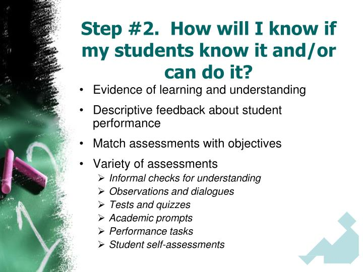 Step #2.  How will I know if my students know it and/or can do it?