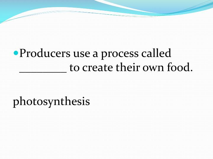 Producers use a process called ________ to create their own food.