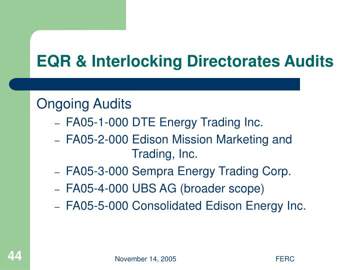 EQR & Interlocking Directorates Audits