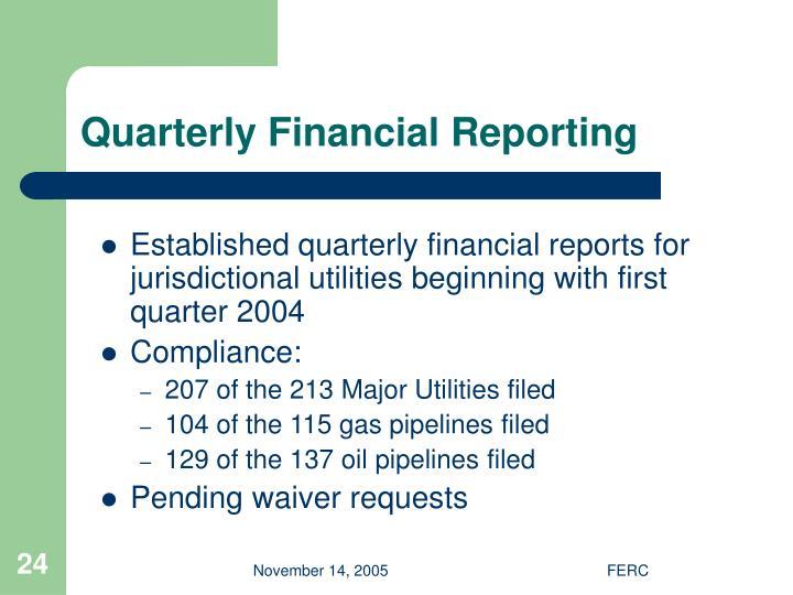 Quarterly Financial Reporting