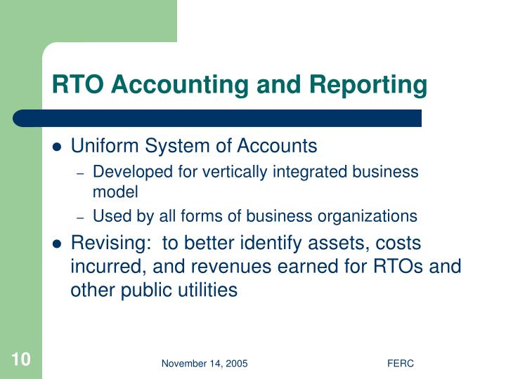 RTO Accounting and Reporting