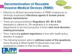 decontamination of reusable invasive medical devices rimd