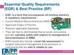essential quality requirements eqr best practice bp
