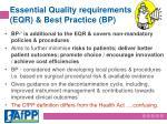 essential quality requirements eqr best practice bp1