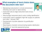 what examples of local choice does the document refer too
