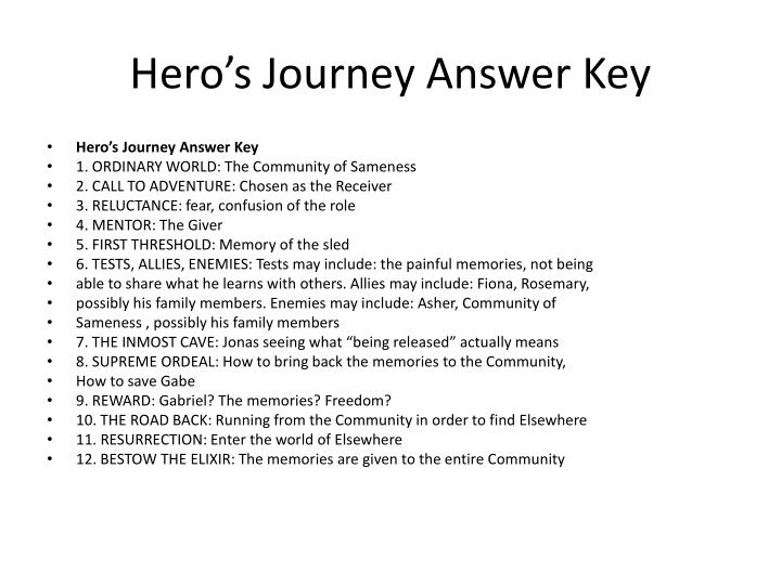 Hero's Journey Answer Key