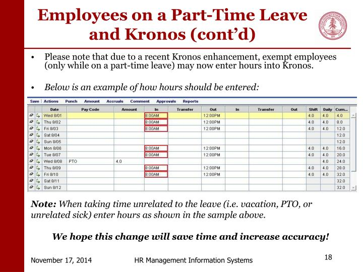 Employees on a Part-Time Leave and Kronos (cont'd)