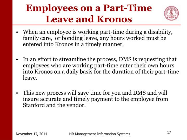 Employees on a Part-Time Leave and Kronos