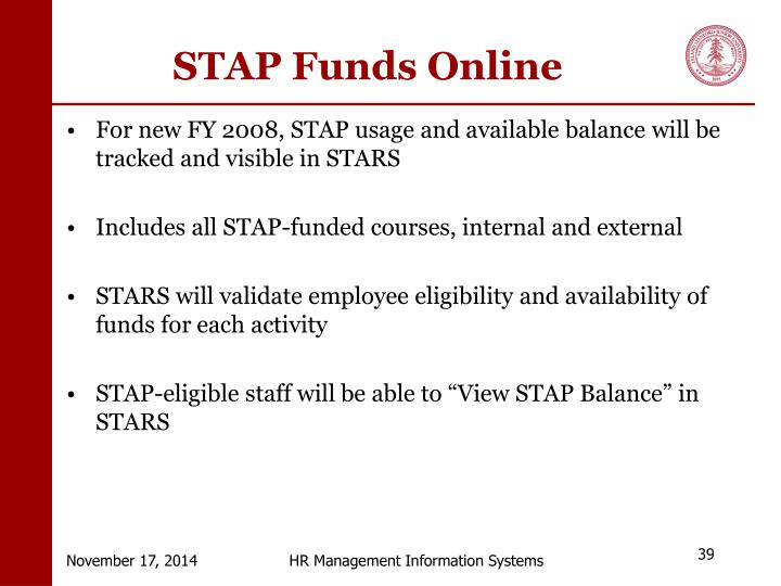 STAP Funds Online