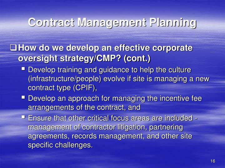 Contract Management Planning