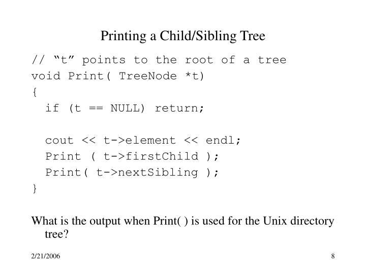 Printing a Child/Sibling Tree