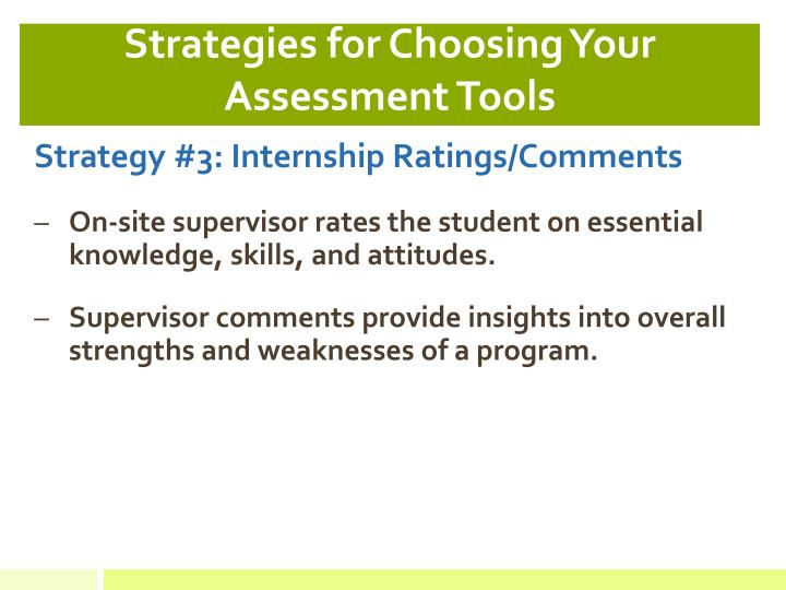 Strategies for Choosing Your Assessment Tools