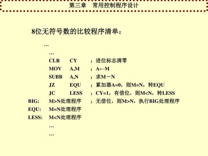 8位无符号数的比较程序清单: