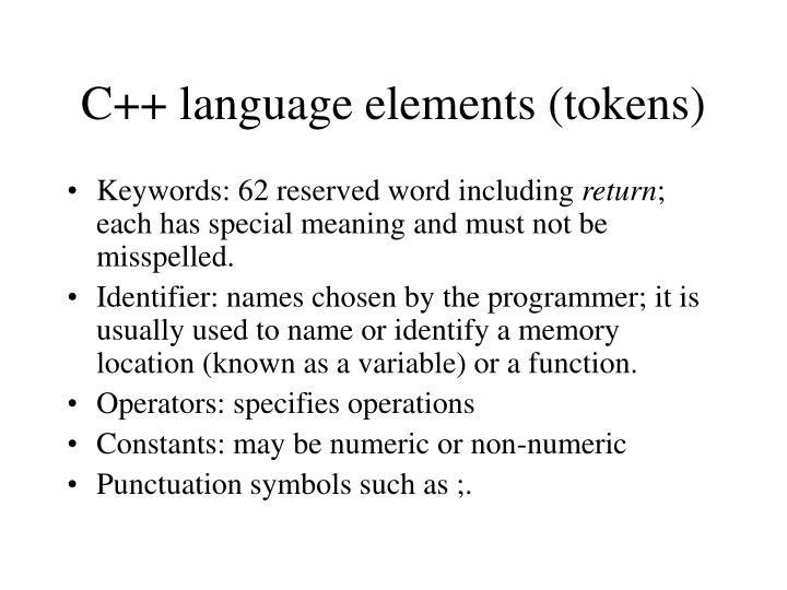 C++ language elements (tokens)