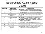new updated action reason codes