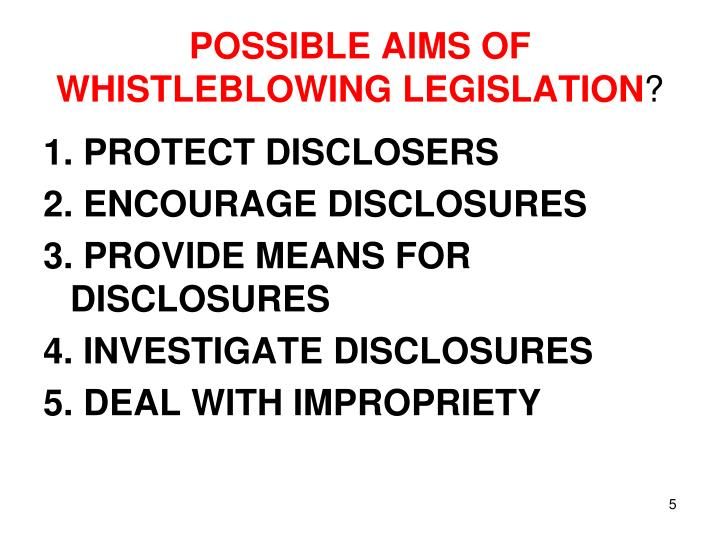 POSSIBLE AIMS OF WHISTLEBLOWING LEGISLATION