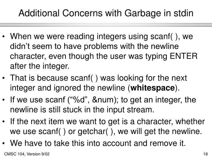 Additional Concerns with Garbage in stdin