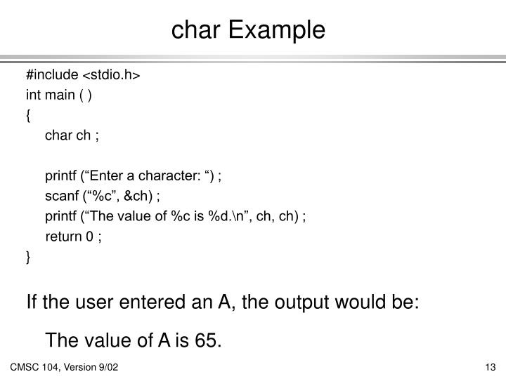 char Example