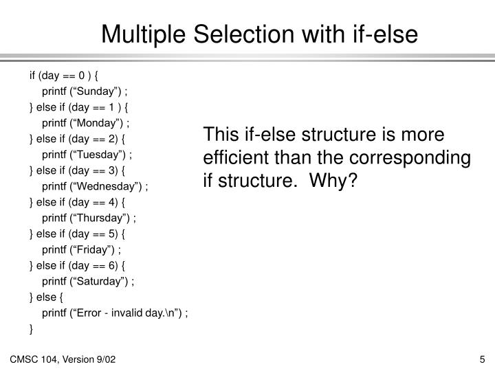 Multiple Selection with if-else
