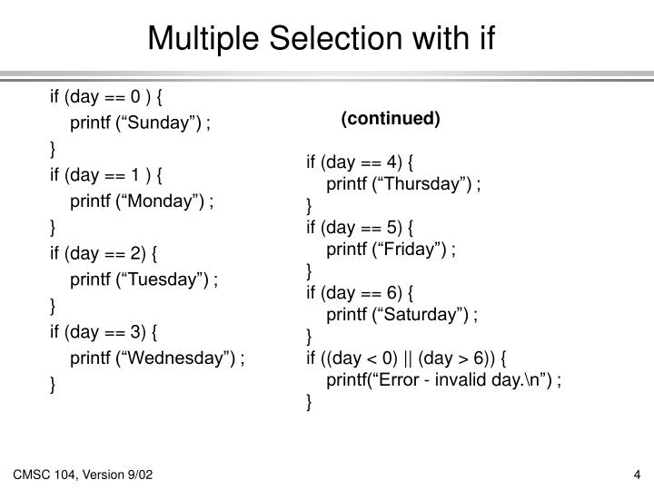 Multiple Selection with if