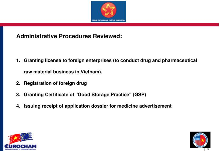 Administrative procedures reviewed