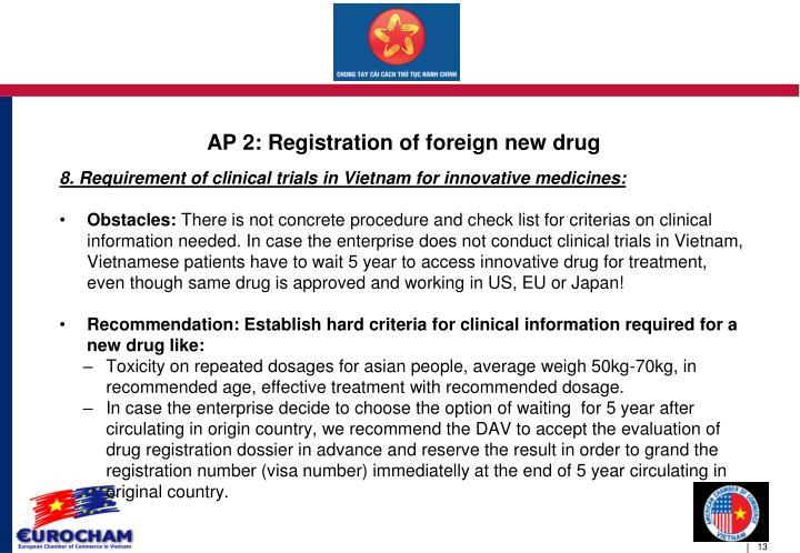AP 2: Registration of foreign new drug