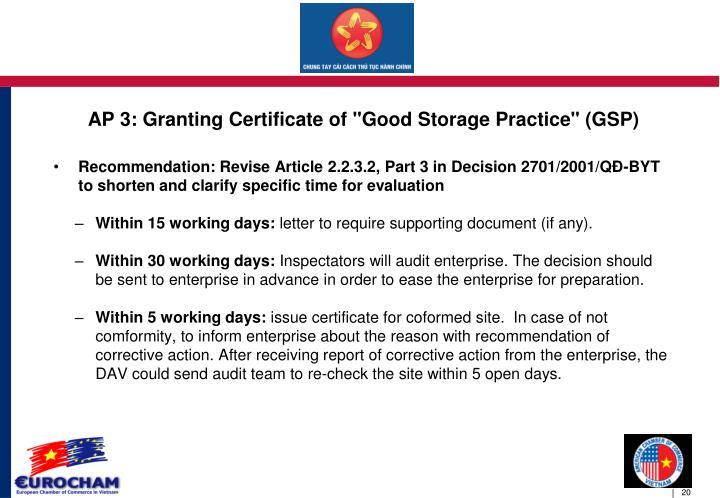 """AP 3: Granting Certificate of """"Good Storage Practice"""" (GSP)"""