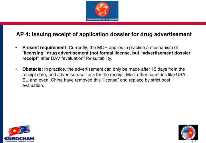 AP 4: Issuing receipt of application dossier for drug advertisement