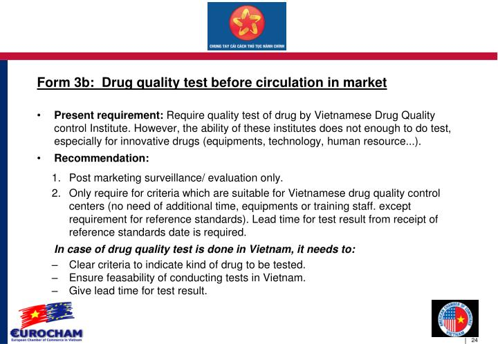 Form 3b:  Drug quality test before circulation in market