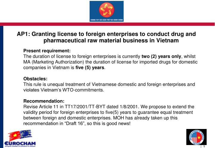 AP1: Granting license to foreign enterprises to conduct drug and pharmaceutical raw material business in Vietnam